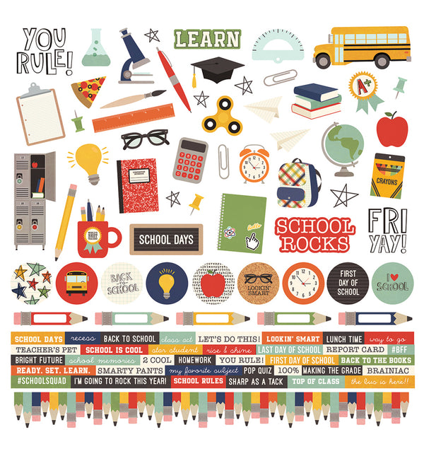 "Simple Stories School Rocks Collection Kit 12"" x 12"" Die-Cut Combo Sticker Sheet Design"