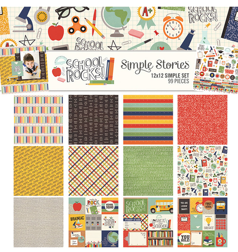 "Simple Stories School Rocks Collection Kit Includes 12"" x 12"" Cardstock Paper and Sticker Sheet Front Page Design at Craftforher"