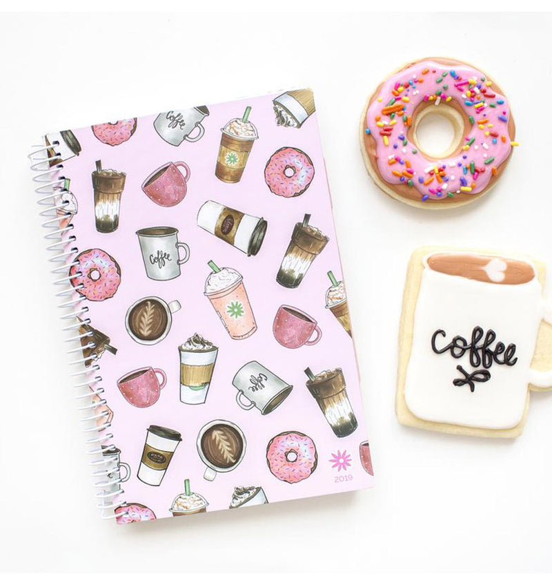 Bloom Coffee Lover 2019 Soft Cover Daily Planner Lying on a Desk