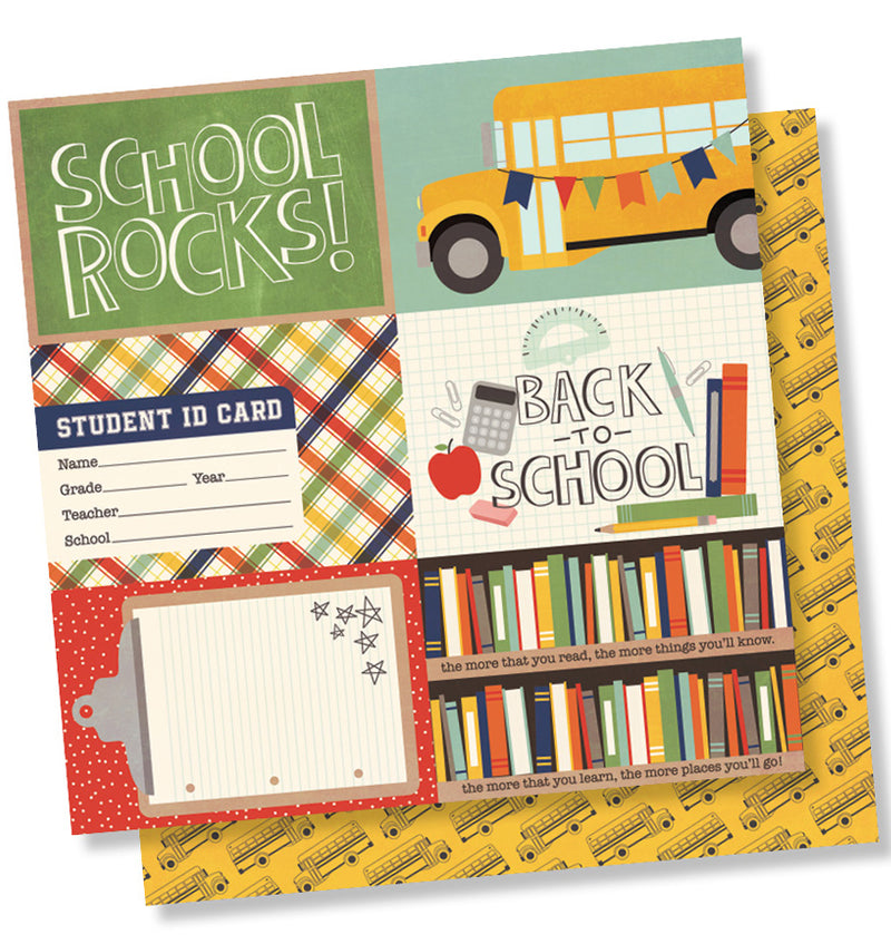 "Simple Stories School Rocks Collection Kit, 4"" x 6"" Horizontal Element 12"" x 12"" Double-Sided Cardstock Paper"