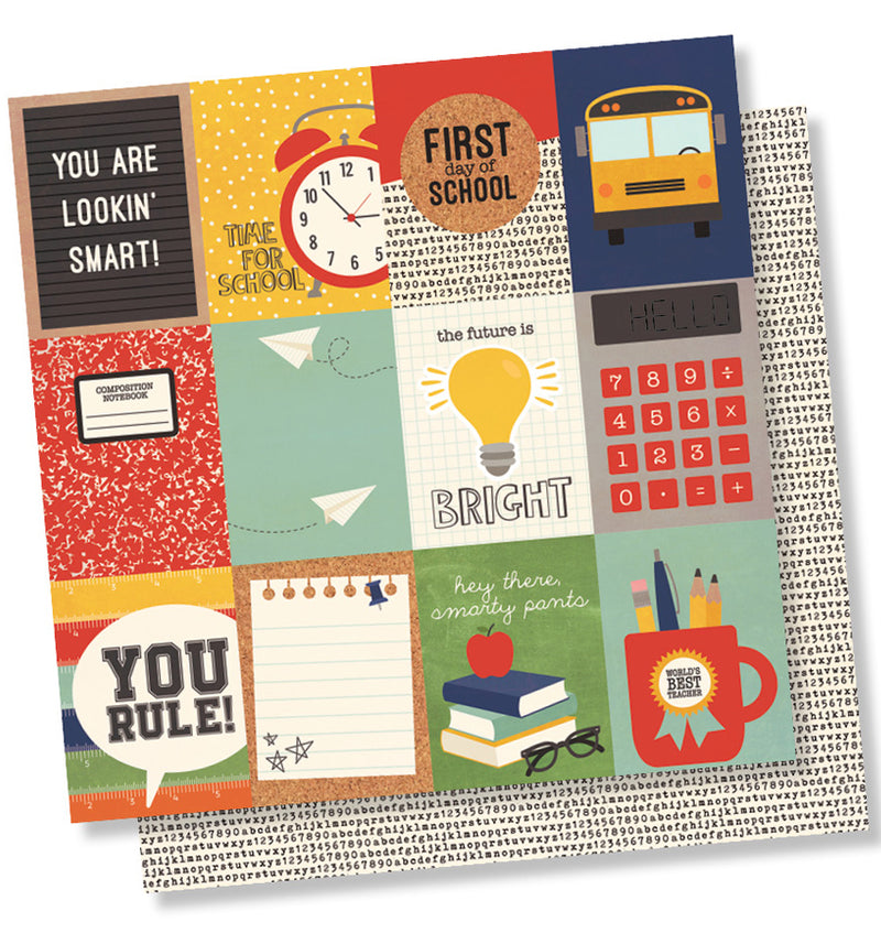 "Simple Stories School Rocks Collection Kit, 3"" x 4"" Element 12"" x 12"" Double-Sided Cardstock Paper"