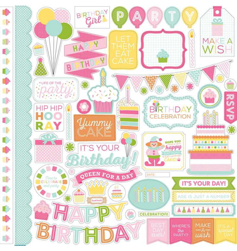 "Echo Park Birthday Wishes Girl Collection Kit Element Sticker Sheet 12"" x 12"""