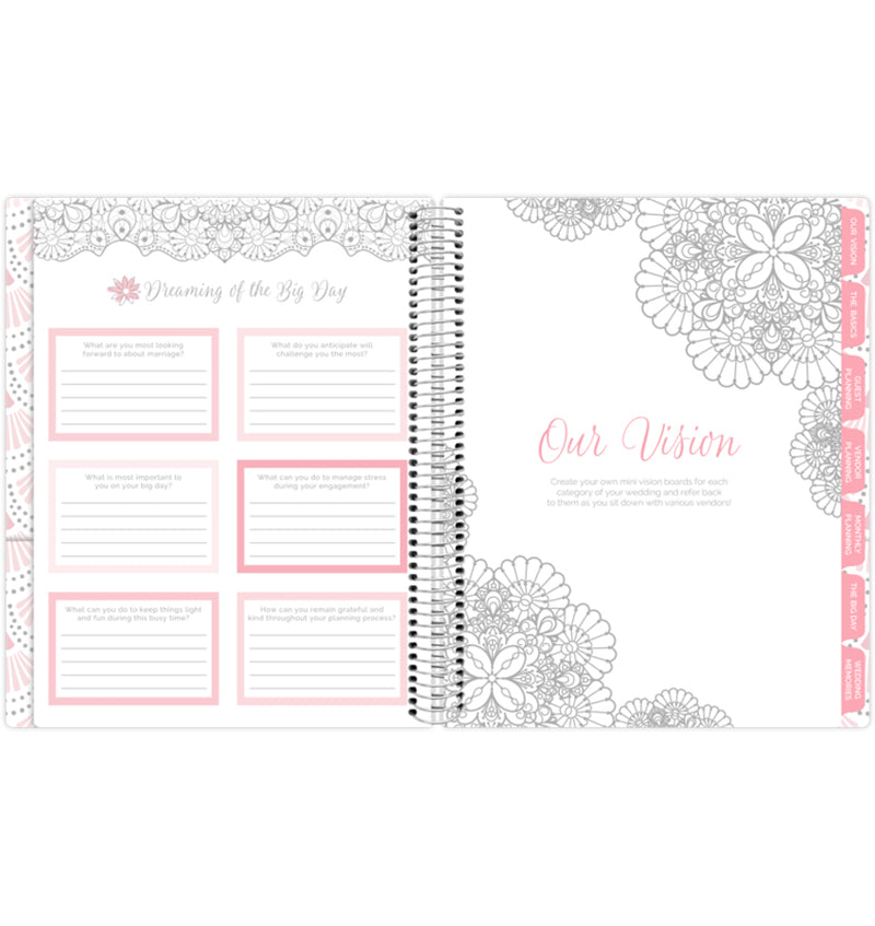 Silver Scallops Hardcover Wedding Planner Undated, Dreaming of the Big Day Pages