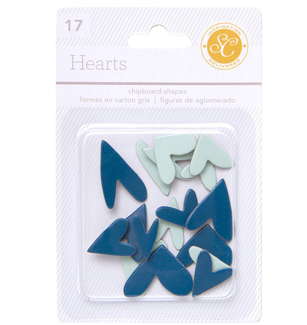 Blue/Aqua Heart Chipboard Shapes 17pcs