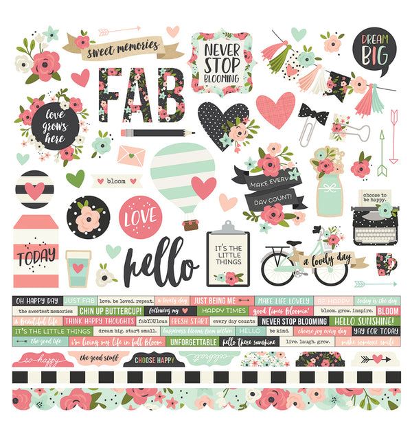 "Simple Stories Bloom Collection Kit 12"" x 12"" Die-Cut Combo Sticker. Acid and Lignin Free"