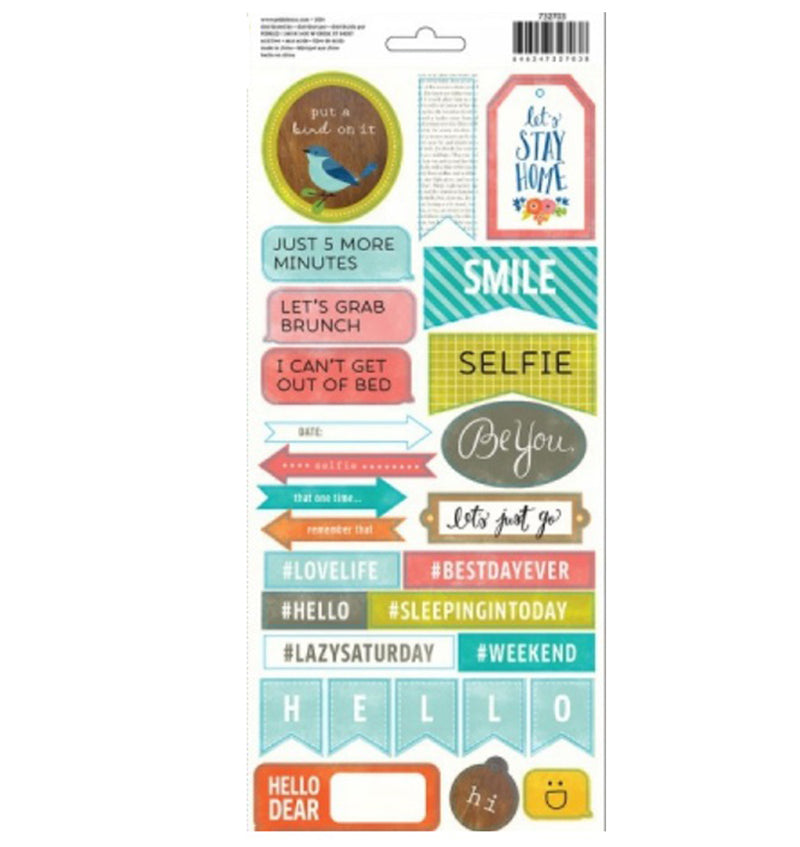 Pebbles Happy Day Phrase & Label Stickers