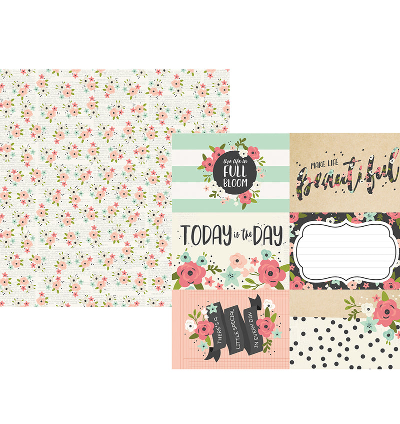 "Simple Stories Bloom Collection Kit, 4"" x 6"" Elements Double-Sided 12"" X 12"" Paper"