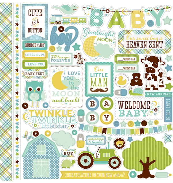 Echo Park Paper Element of Joy Boy Cardstock Stickers