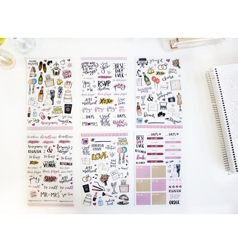 Bloom's Wedding Planner Sticker Sheets Displaying all 6 Sheets Stickers Designs