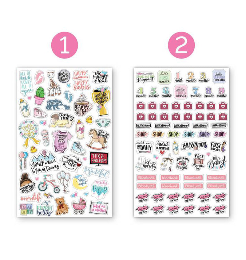 Bloom Pregnancy & Baby's First Planner Sticker Sheet One and Sheet Two