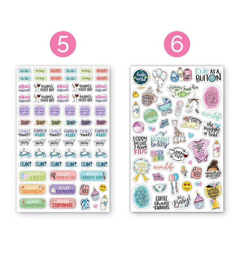 Bloom Pregnancy & Baby's First Planner Sticker Sheet Five and Sheet Six