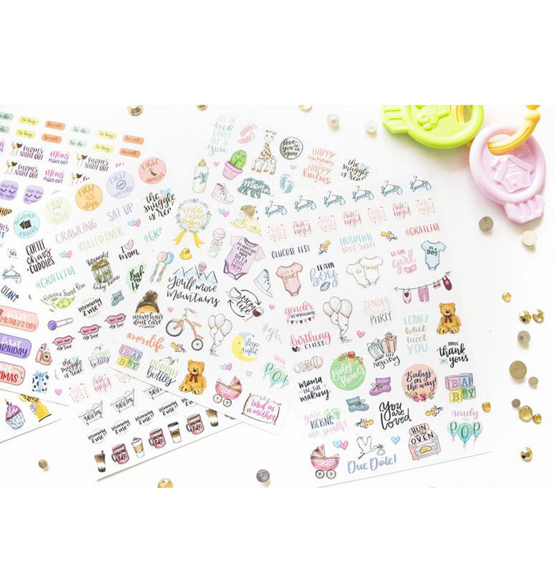 Display of all 6pcs of Bloom Pregnancy & Baby's First Planner Sticker Sheet
