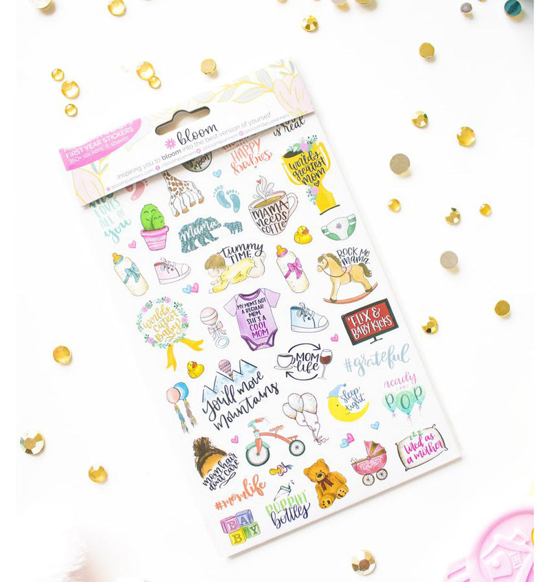 Front Sheet of Bloom Pregnancy & Baby's First Planner Sticker Sheet 6pcs
