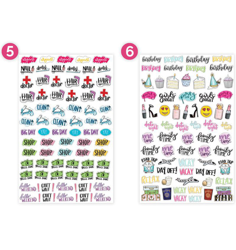 Bloom Productivity Planner Sticker Sheet 6pcs Sheet Five and Sheet Six