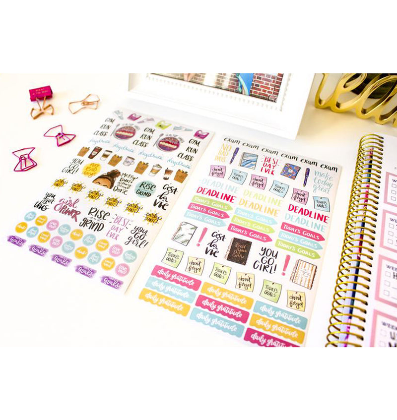 Bloom Productivity Planner Sticker Sheet 6pcs, Best Day Ever, Deadline, Today Goals, Daily Gratitude Icon Stickers