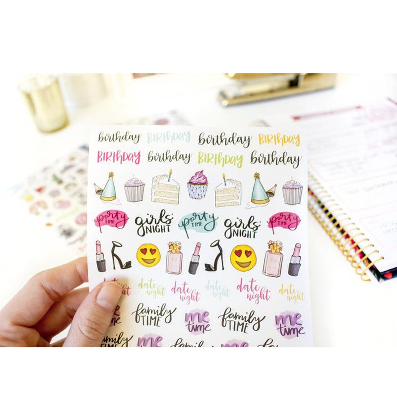 Bloom Productivity Planner Sticker Sheet, Birthday, Girl's Night, Family Time, Party Time Icon Stickers
