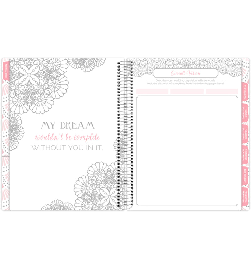 Silver Scallops Hardcover Wedding Planner Undated, Vision for the Wedding Page