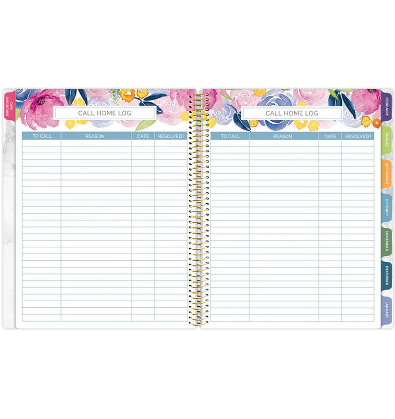 Bloom Marble Teacher Planner Undated Student Call Home Log Pages