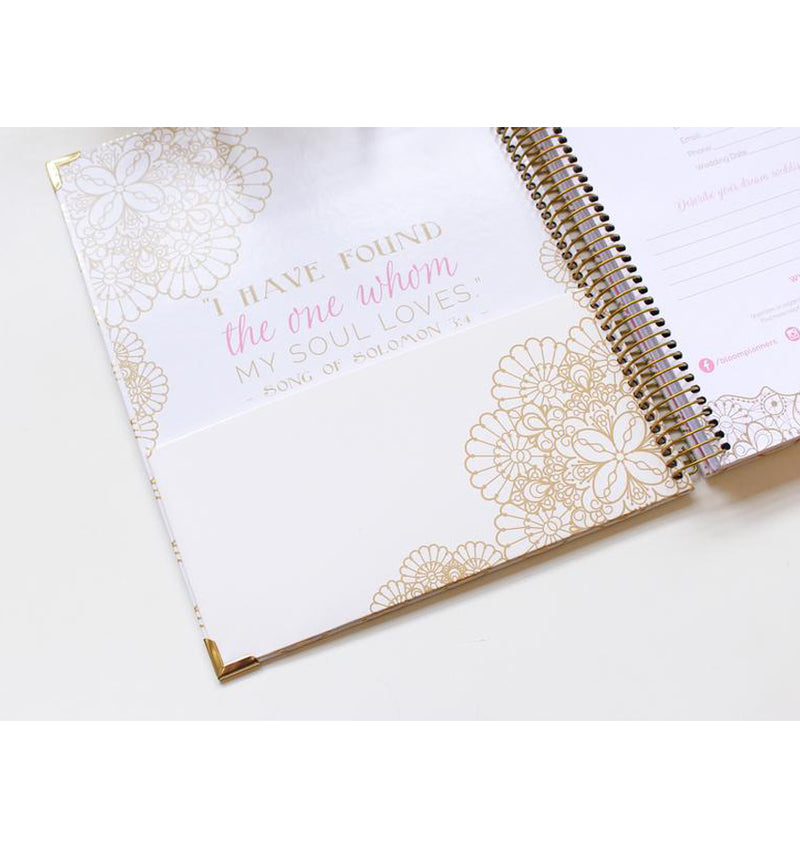 Bloom Gold Scallops Hardcover Wedding Planner Undated Storage Pocket at the Front