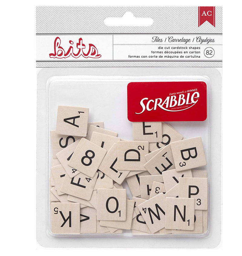 Scrabble Printed Cardstock Shape 82pcs