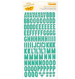 Aqua Printed Chipboard Letter Thickers