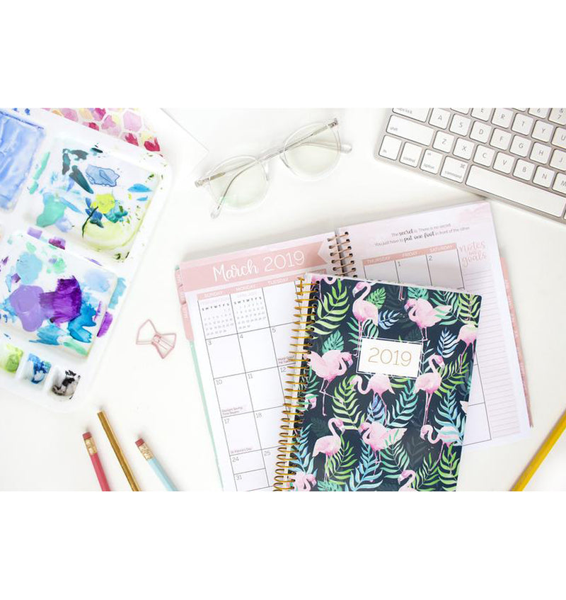 Bloom Flamingos 2019 Soft Cover Daily Planner Monthly View and Front Cover