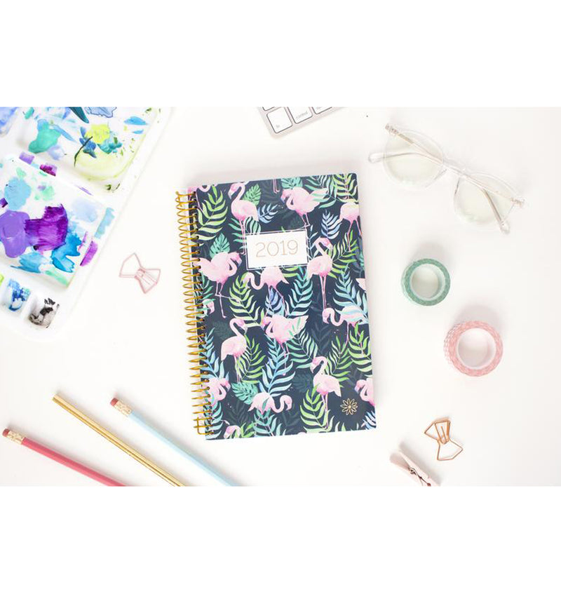 Bloom Flamingos 2019 Soft Cover Daily Planner on a Desk