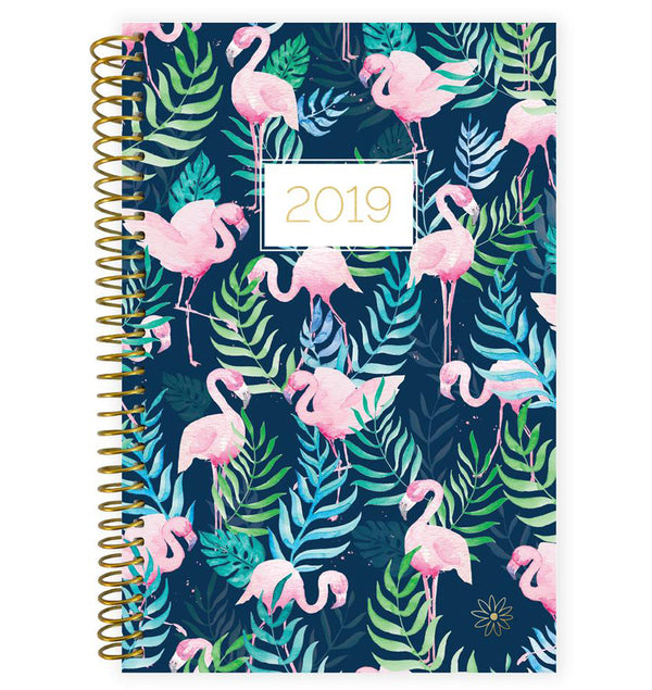 Bloom Flamingos 2019 Soft Cover Daily Planner Front Cover Design at Craftforher