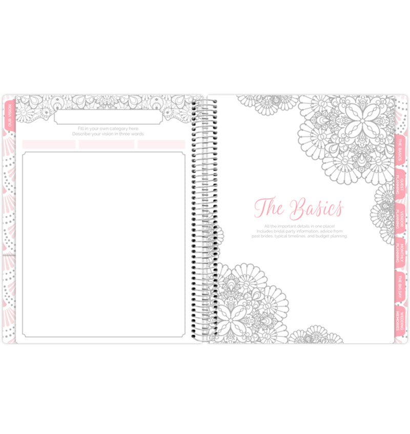 Silver Scallops Hardcover Wedding Planner Undated, The Basics with Wedding Tabs