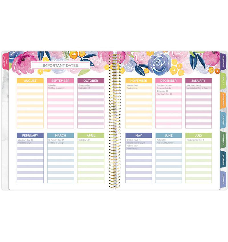 Bloom Marble Teacher Planner Undated Important Dates in a Year Pages