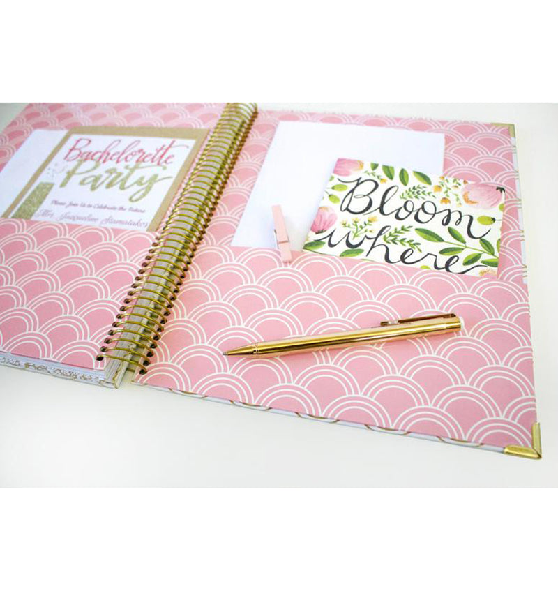Bloom Gold Scallops Hardcover Wedding Planner Undated 2 Storage Pockets at the Back