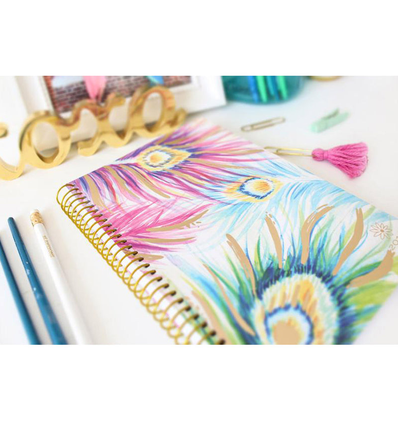 Bloom Peacock Feathers 2019 Soft Cover Daily Planner with Binder
