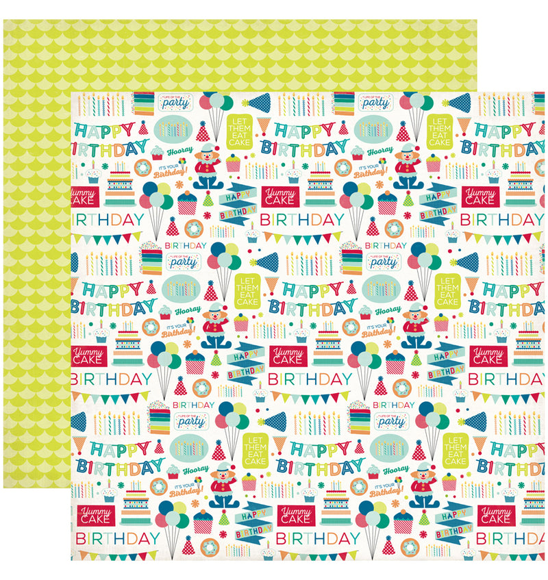 "Echo Park Birthday Wishes Boy Birthday Party Cardstock Paper 12"" x 12"""