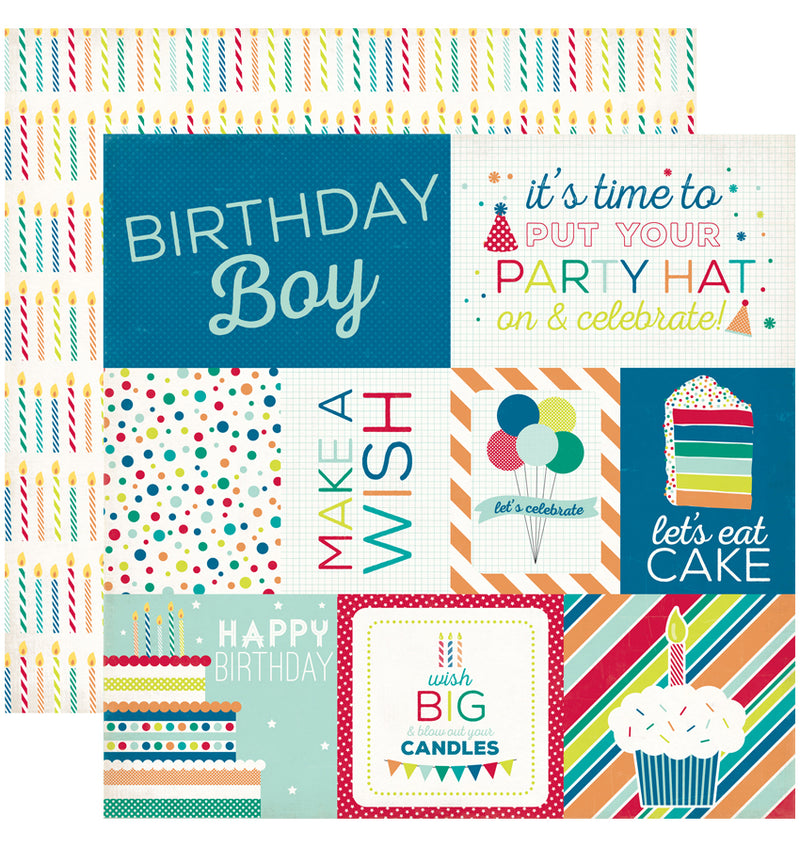 Echo Park Birthday Wishes Boy Birthday Journaling Cards Cardstock Paper