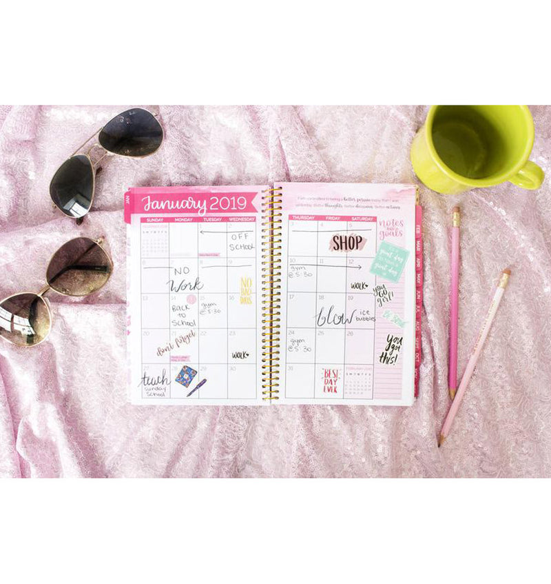 Bloom Peacock Feathers 2019 Soft Cover Daily Planner Monthly View with Writings, Text and Planner Stickers