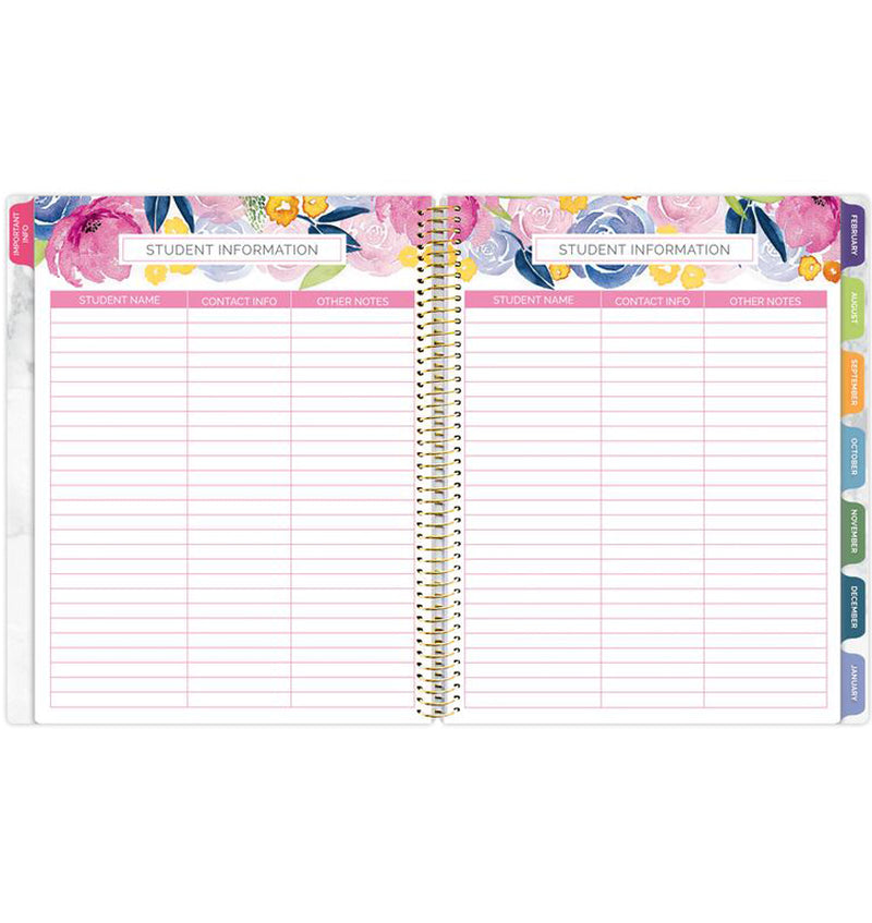 Bloom Marble Teacher Planner Undated Student Information, Student Name, Contact Information and Other Notes Pages