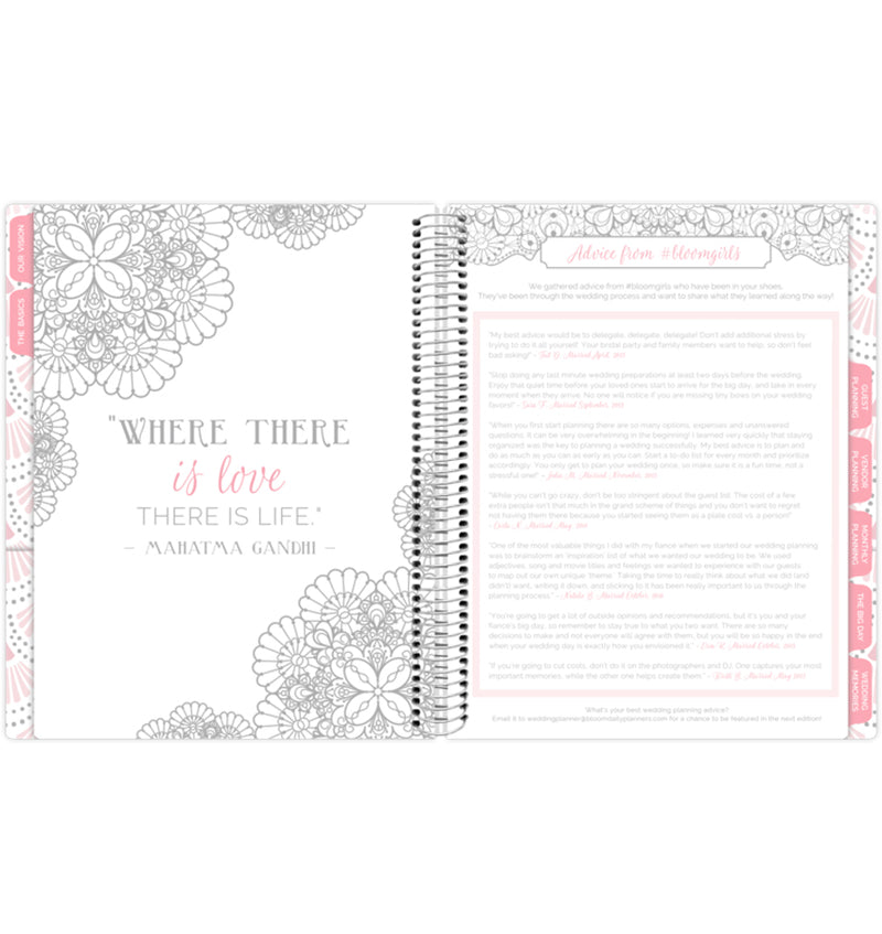 Silver Scallops Hardcover Wedding Planner Undated with Wedding Advice from Bloom Girls Page