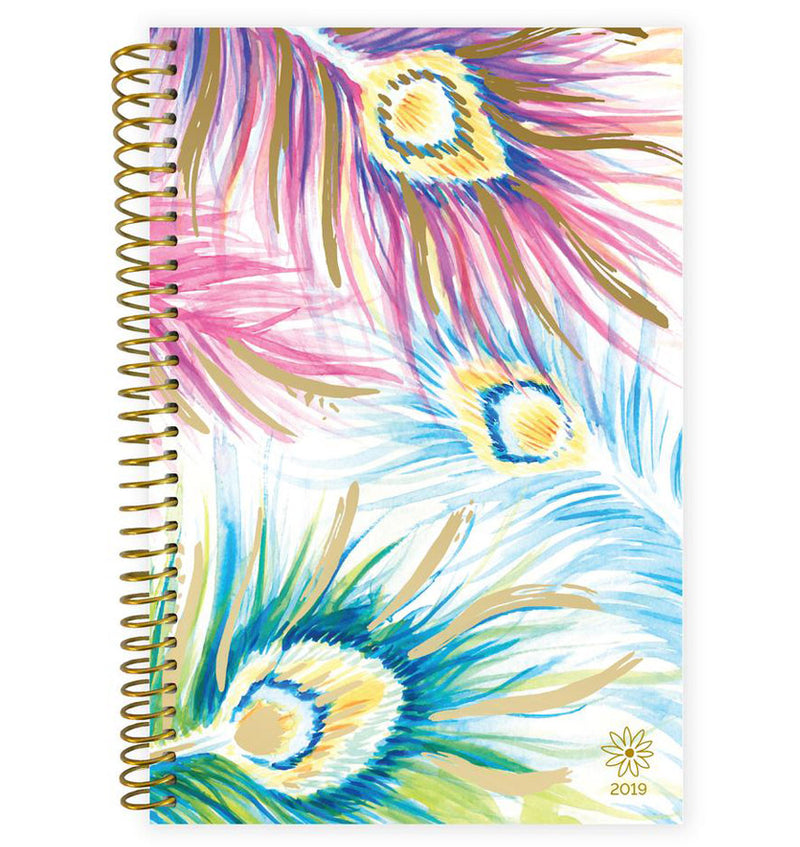 Bloom Peacock Feathers 2019 Soft Cover Daily Planner Front Cover Design at Craftforher