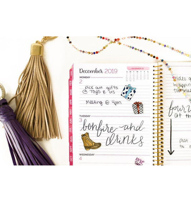 Bloom Navy Based Tassels 2019 Soft Cover Daily Planner Weekly View Pages with Monthly Tabs at the Side
