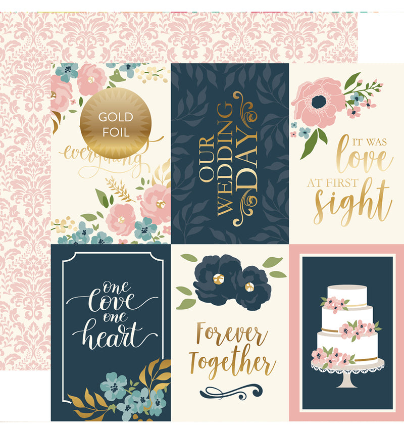 "Echo Park Just Married Collection Kit 4"" x 6"" Journaling Cards Gold Foil 12"" X 12"" Cardstock Paper"