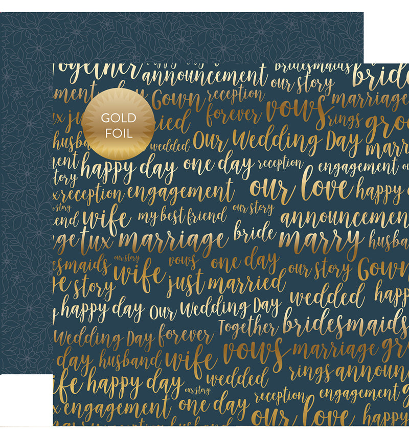 "Echo Park Just Married Collection Kit Our Love Gold Foil Cardstock Paper 12"" x 12"""