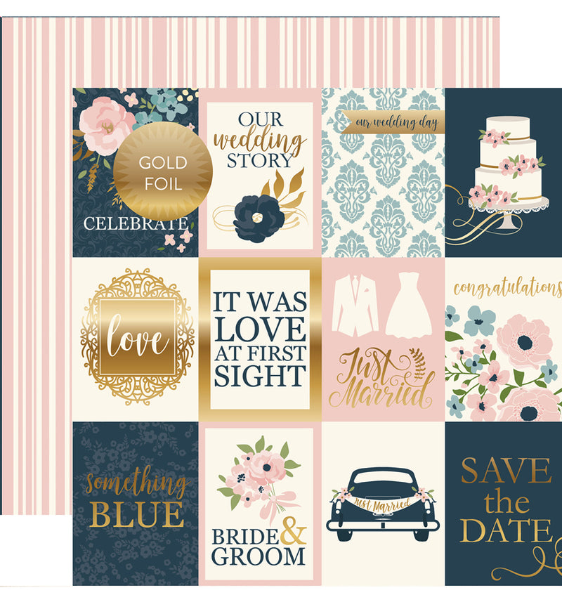 "Echo Park Just Married Collection Kit 3"" x 4"" Journaling Cards Gold Foil Cardstock Paper 12"" x 12"""