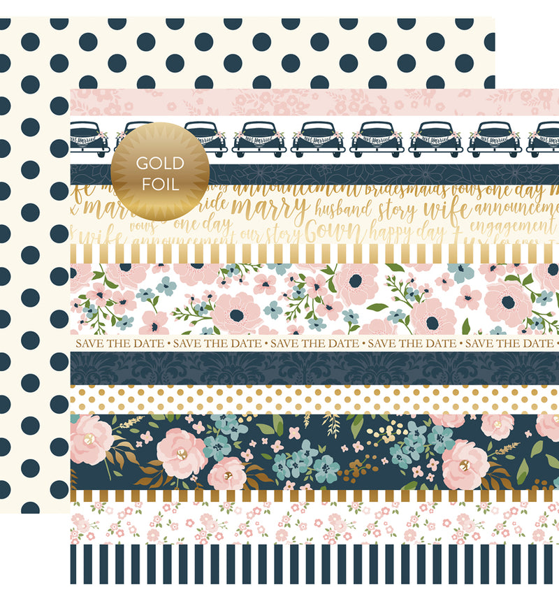 "Echo Park Just Married Collection Kit Border Strips Gold Foil Cardstock Paper 12"" x 12"""