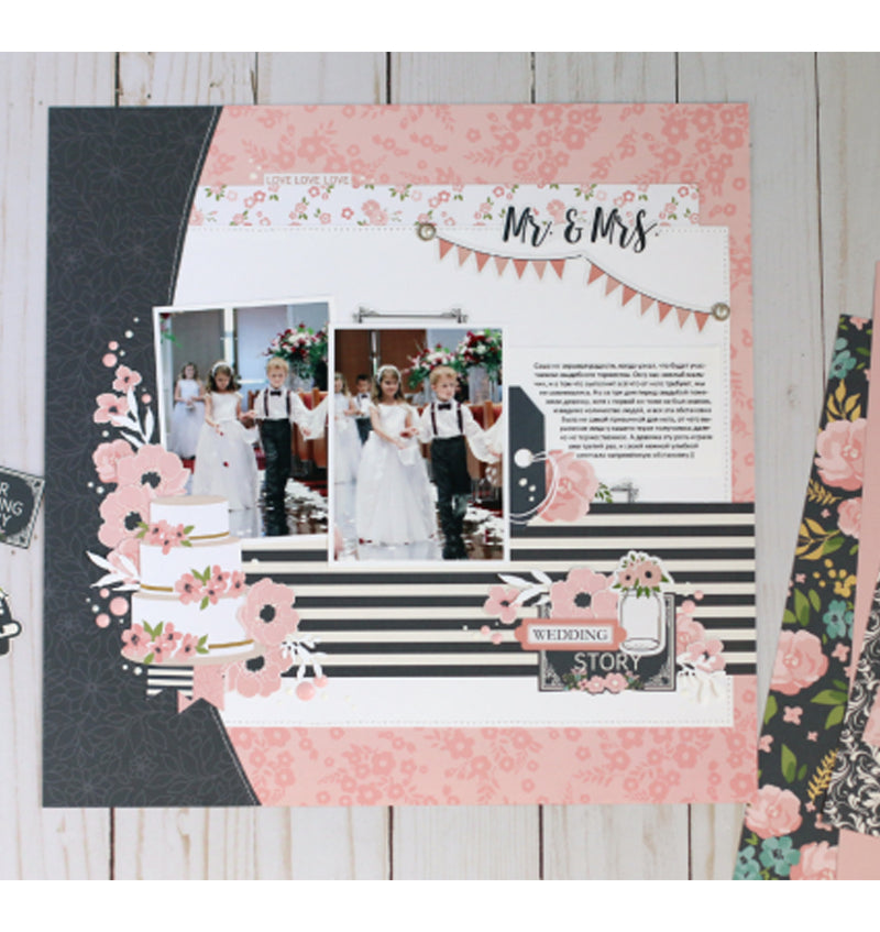 Scrapbooking Design Sheet Done Using Echo Park Just Married Collection Kit