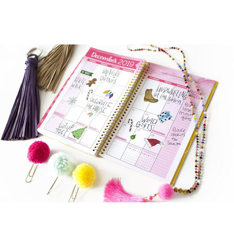 Bloom Navy Based Tassels 2019 Soft Cover Daily Planner Monthly View Pages with Text and Planner Stickers