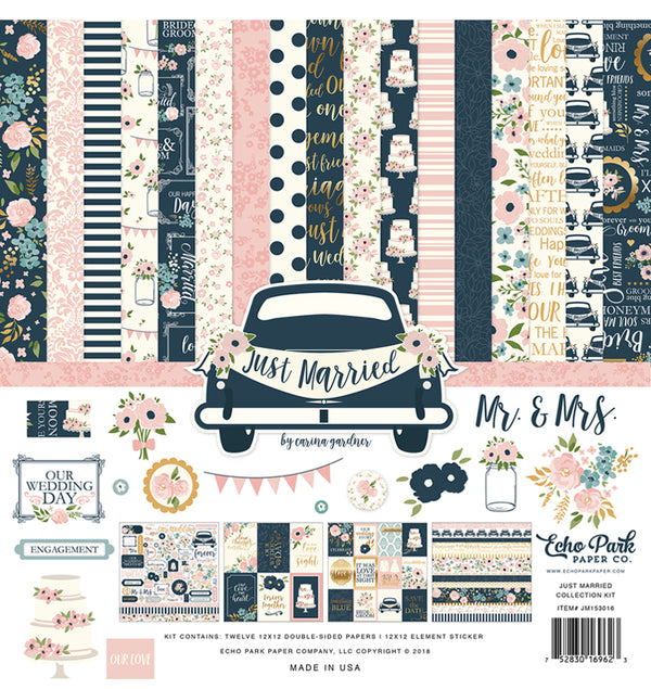 "Echo Park Just Married Collection Kit Includes 12"" x 12"" Cardstock Paper and Just Married Sticker Sheet at Craftforher"