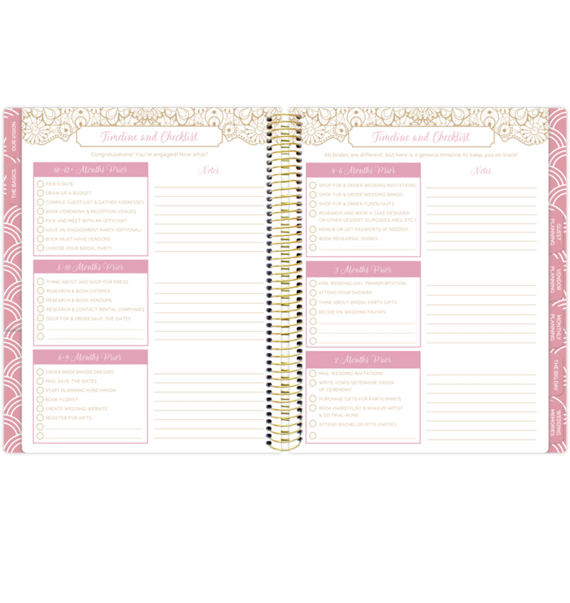 Bloom Gold Scallops Hardcover Wedding Planner Undated Timeline and Checklist Pages