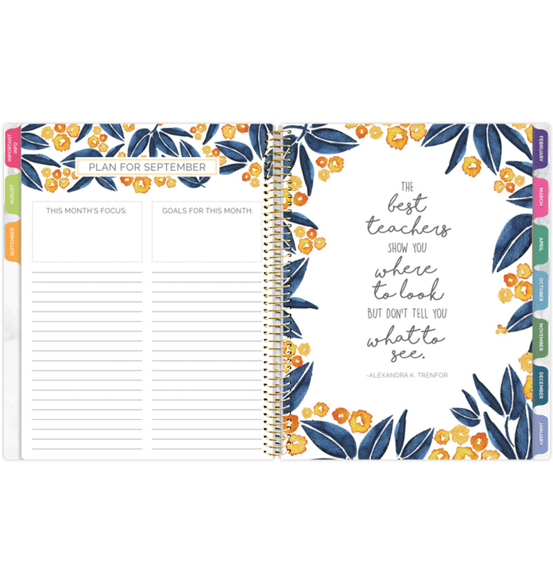 Bloom Marble Teacher Planner Undated Plan and Goals Monthly View with Monthly Tabs