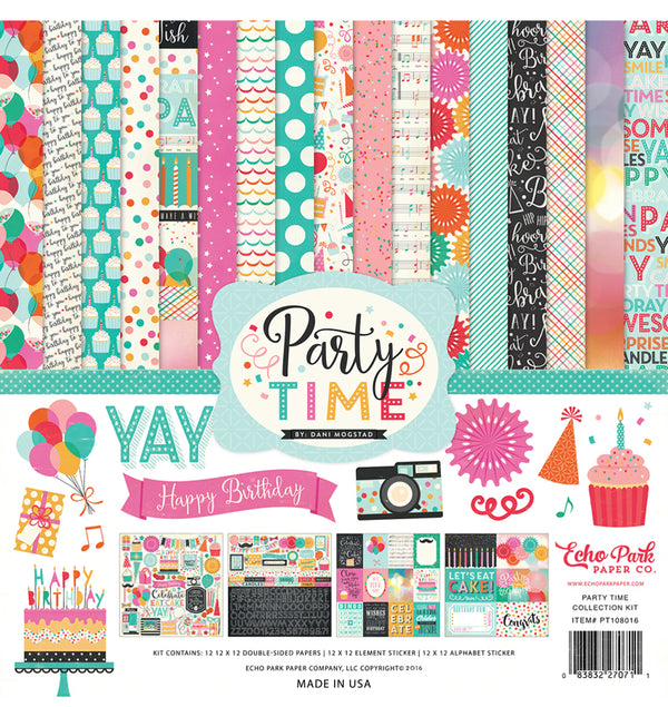 "Echo Park Party Time Collection Kit Includes 12"" x 12"" Cardstock Paper and Sticker Sheet at Craftforher"