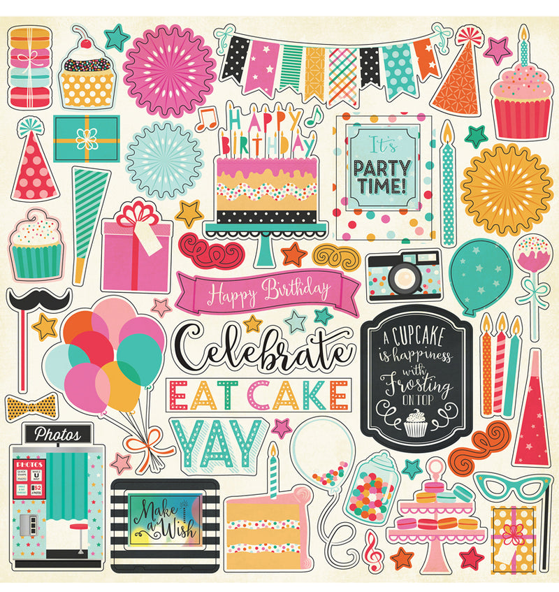 "Echo Park Party Time Collection Element Sticker Sheet 12"" x 12"""